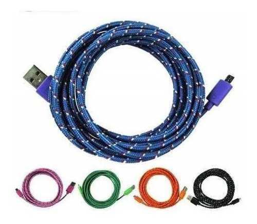 Cable Micro Usb V8 3 Metros Reforzado Celulares Tablet Carga