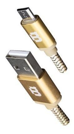 Cable Micro Usb V8 3 Metros Tejido Oro Blackpcs (cagmt3m-3)