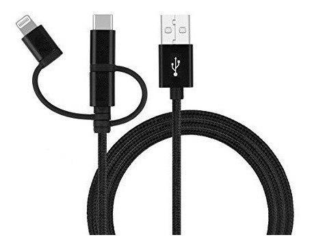 Cable Nylon Resistente 3 En 1 Tipo C Micro Usb iPhone
