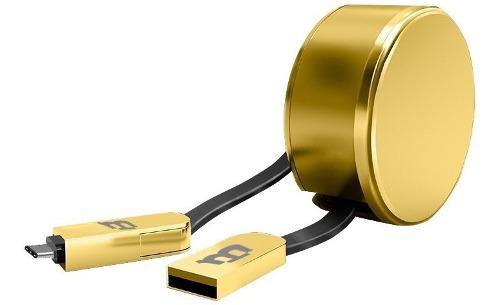 Cable Plastico Blackpcs Retractil V8 / Tipo C Oro Cagmcpr-3