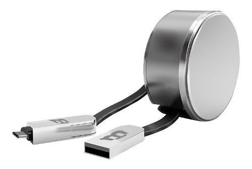Cable Retractil V8 /tipo C Plastico Blackpcs Plata Casmcpr-3