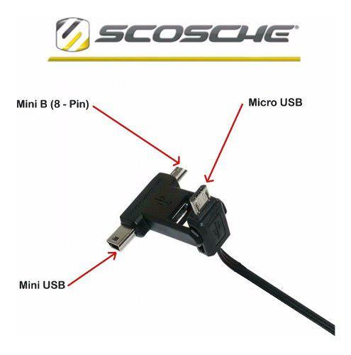 Cable Scosche 3 En 1 Go-pro Micro Usb/mini Usb/mini B 8-pin