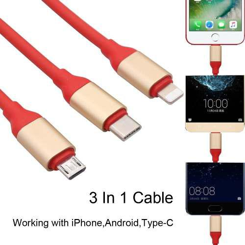 Cable Usb 3 En 1 Tipo C Micro Usb iPhone Colores Calidad Ful