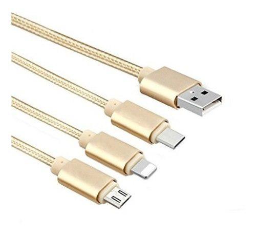 Cable Usb Reforzado Pulpo 3 En 1 Micro Usb V8 Tipo C Type-c