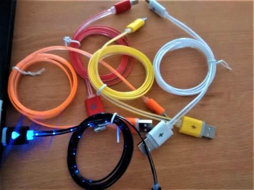 Cable Usb V8 Luminoso Luz Led Mayoreo Y Menudeo G R
