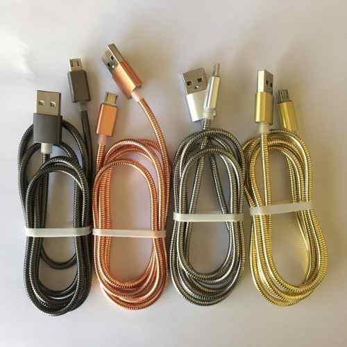 Cable Usb V8 Metálico Uso Rudo Reforzado 100 Cm Carga