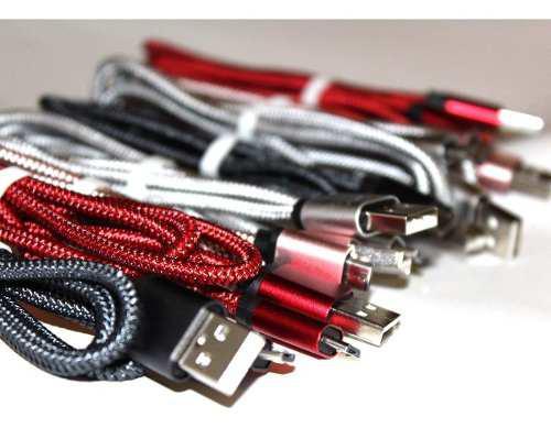 Cable V8 3 Metros Alta Calidad Metalico Uso Rudo Android