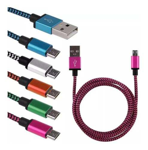 Cable V8 Android Micro Usb Trenza Carga Datos 2 Metros 3x2!!