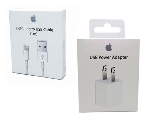 Cargador + Cable iPhone 5 6 7 8 X Lightning Apple 1m