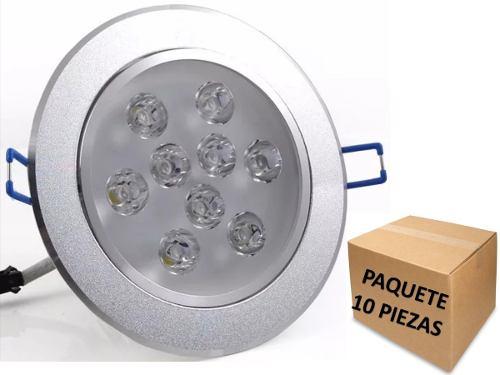 Empotrado Plafon Led 9w Luz Blanca Fria Bote 12 Cm 10 Pzas