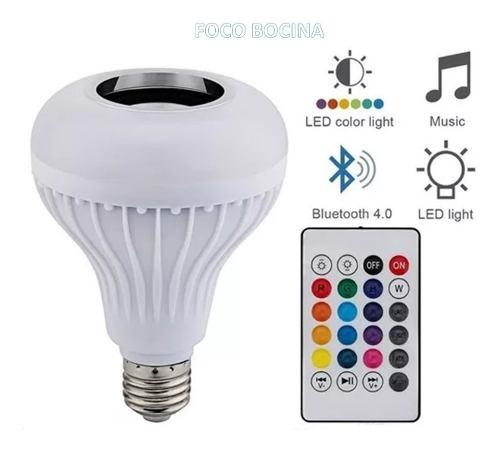 Foco Con Bocina Bluetooth Led Rgb + C.remoto Cambia De Color
