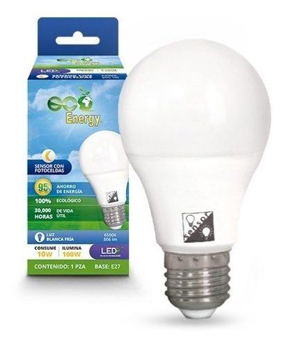 Foco Led 10w Sensor Con Fotoceldas Luz Blanca Socket Normal