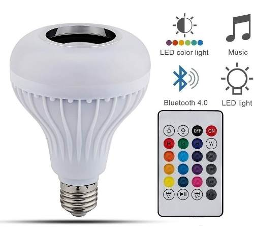 Foco Led 12w Bocina Multicolor Rgb Bluetooth