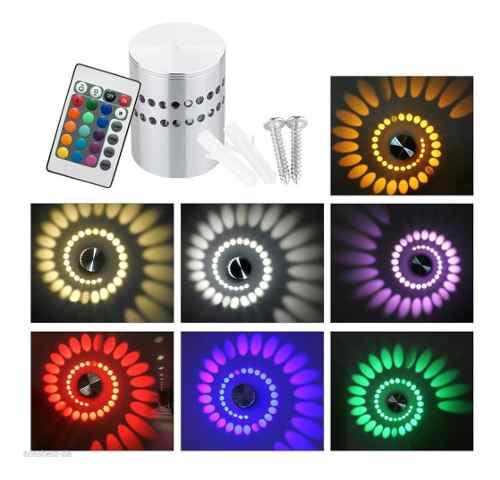 Lampara Led Espiral De Techo O Pared Aluminio Luz Multicolor