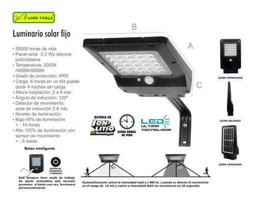 Lámpara Solar Mediana Led 400 Lm Sensor De Movimiento Ip65