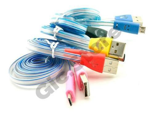Lote De 10 Cable Microusb Con Luz Led Para Samsung Motorola