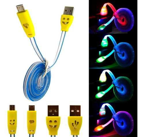 Oferta 10 Cables De Datos Cargador Micro Usb Luz Led V8