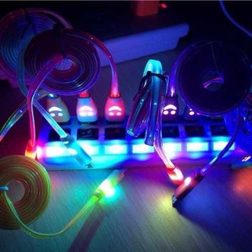 Paquete Con 10 Cables Micro Usb V8 Luminosos Luz Led Celular