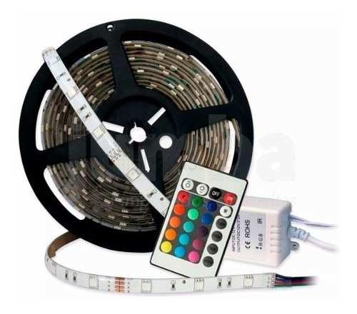 Tira Rgb Led Kit  De 5 Mts 16 Colores Con Control Remoto