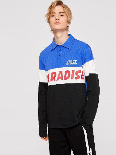 Camisa Polo De Hombres Con Estampado De Letras De Color Bloc