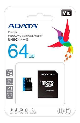 Memoria Micro Sdxc 64gb Adata V10 Clase 10 A1 Juegos Full Hd