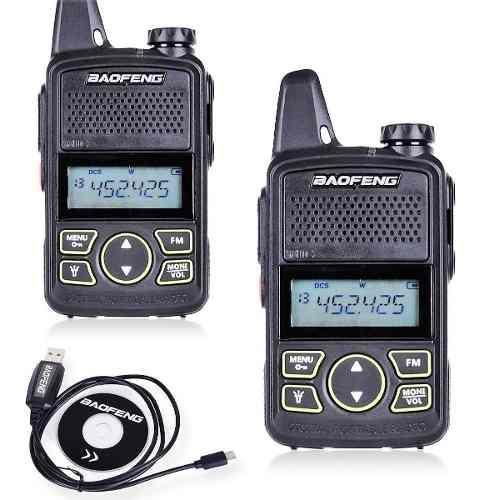 2 (un Par) Mini Radio Baofeng Bf-t1 Uhf + Cable Programacion