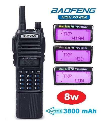 8w Radio Baofeng Uv-82 Hp Con Pila 3800 Mah Máxima Potencia
