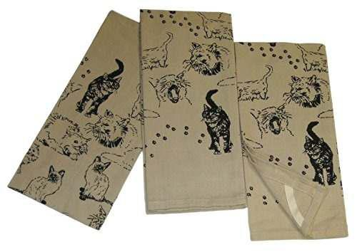 Black Cats On Natural Tan Cotton Kitchen Dish Towel Set (3 I