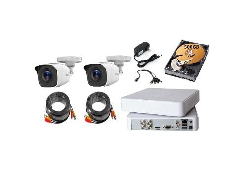 Kit Video Vigilancia 2 Cámaras Hilook Hd 720p / 1mp 500gb