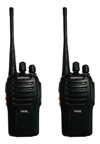 Set De 2 Radios Interphone H606 Walkie Talkie Uhf 16 Canales
