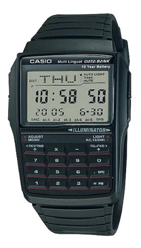Reloj Casio Retro Vintage Dbc32 Caucho Calculadora Luz Ambar