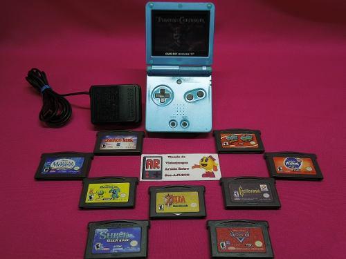 Consola Game Boy Advance Sp Edicion Blue Surf Con 1 Juego