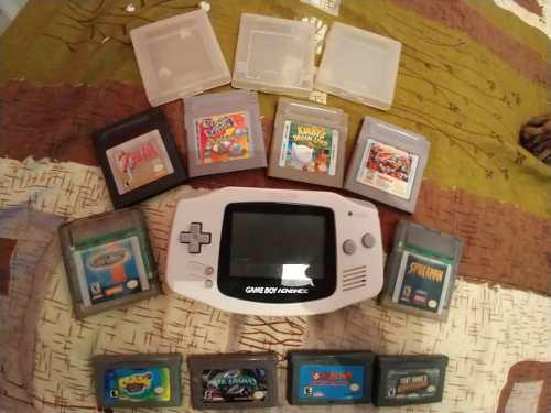 Game Boy Advance Gba Con 10 Cartuchos