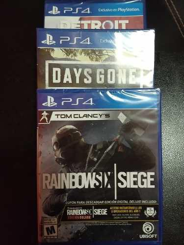 Bundle Hits Ps4 3 Juegos: Days Gone Rambowsix Detroit Sellad
