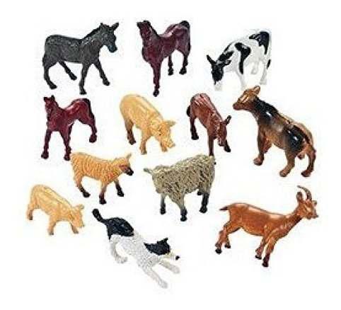 12 Granja De Animales Figuras De Juguete En Miniatura