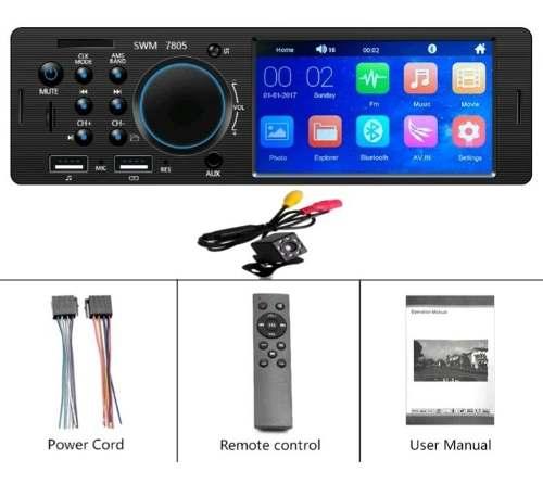 Auto Estereo De Pantalla Touch Bluetooth 1din Mp3 + Cámara