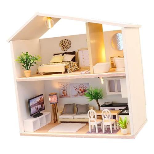 Casa De Muñecas En Miniatura Diy Construir Con Muebles 1:2