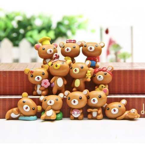 Coleccion De 12 Geniales Minifiguras Osito Rilakkuma Kawaii