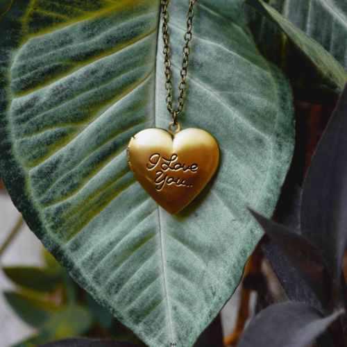 Collar Corazón Relicario Foto Guardapelo I Love You Te Amo