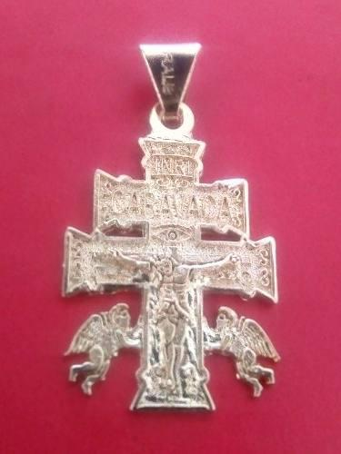 Cruz De Caravaca Dorada Talisman Protección Amor Riqueza
