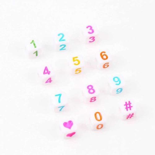 Cubo Números Multicolores Mixtos Al Azar 100 Piezas 7mm