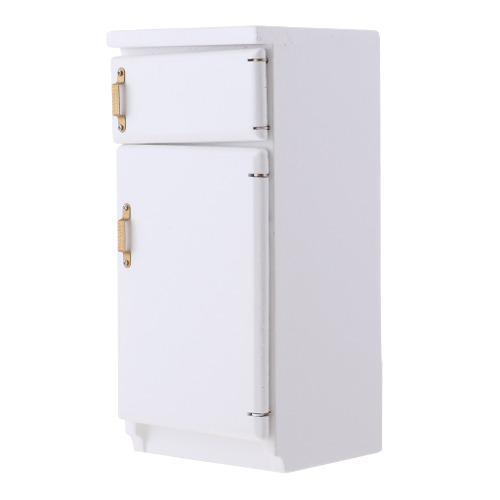 Escala 1/12 Miniatura Refrigerador De Madera De Cocina De S