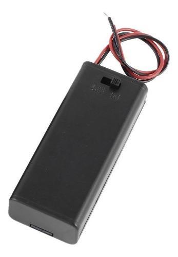 Porta Baterias Con Tapa Y Switch Para 2 Pilas Aaa En Serie