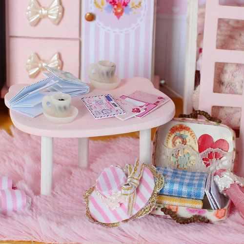 Rosa Girl's Corazón 3d Casa Muñeca De Madera Diy Miniatura