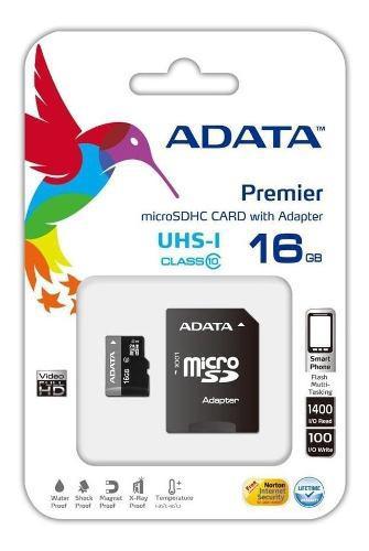 Memoria Micro Sd 16gb, Adata, Clase 10, Nueva