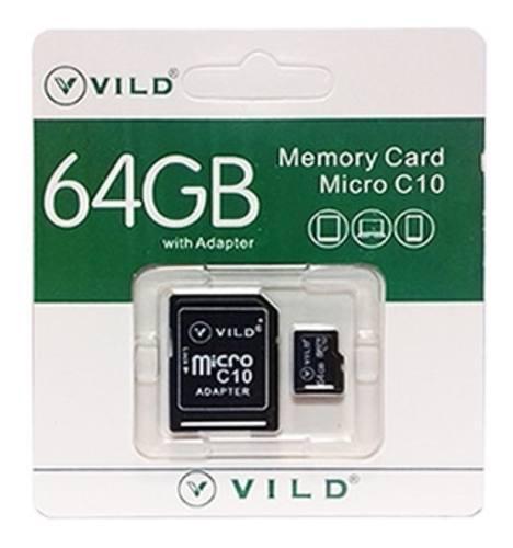 Memoria Micro Sd 64gb Vild Clase 10 Con Adaptador Mayoreo