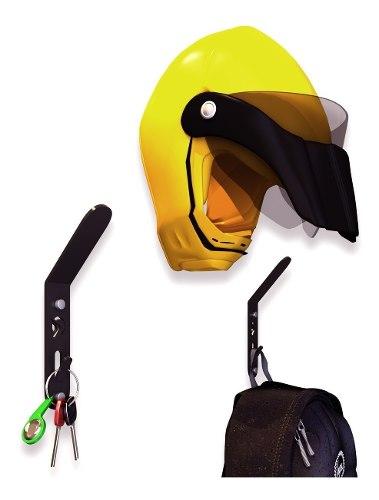 3 Soportes De Pared Perchero Para Casco Moto Boomerang