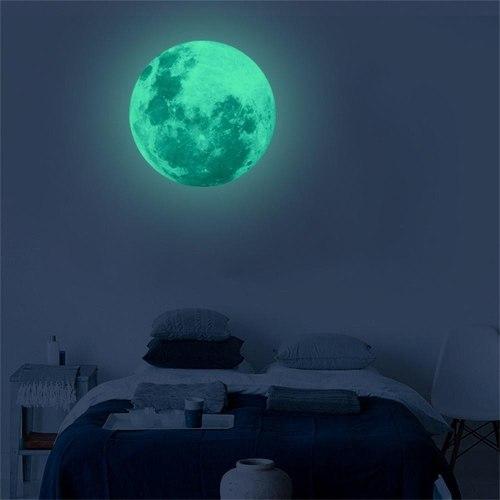 Luna 20 Cms Fosforescentes Adhesiva Brillan En Oscuridad