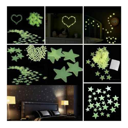 Paquete De 500 Estrellas Fluorescentes Fosforecentes
