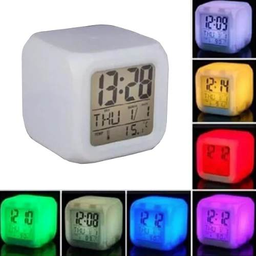 Reloj Despertador Digital Led 7 Colores Intermitentes %